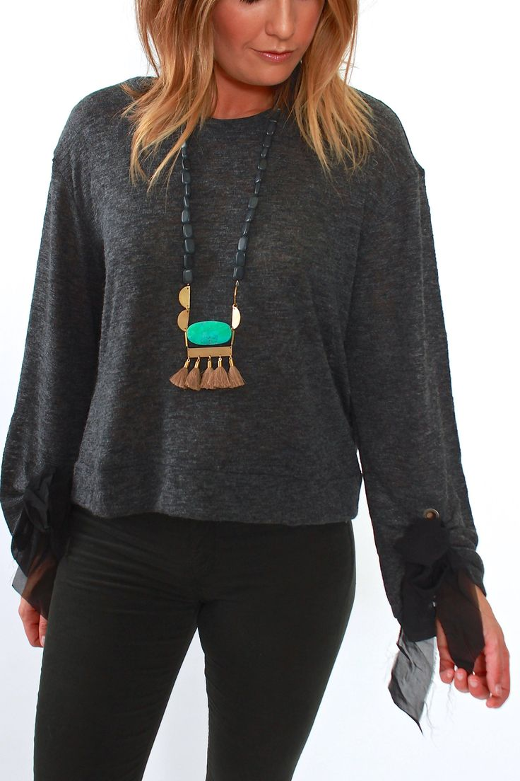 Ella Moss, Grommet Sleeve Pullover in Charcoal