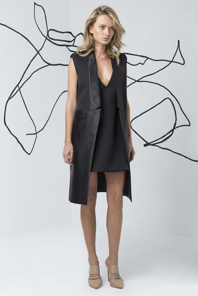 C/MEO COLLECTIVE black vest is available at suitster.com