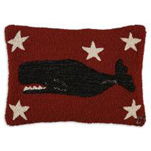 A fun addition to your rustic or seaside home. Designed by Laura Megroz from Chandler 4 Corners. New Zealand wool, 14x20, 100% polyester filling. #homedecor #coastaldecor Available now at Snow's! https://www.snowshomeandgarden.com/products/pillow-whale-14x20-9183.html