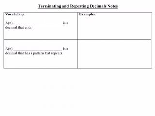 Terminating and Repeating Decimals      Terminating and Repeating Decimals Defines and show an example of a terminating decimal and repeating decimal. Aligned to the Math 7: Pa Common Core StandardsViews: 4 | By: Ms. | Category: Math