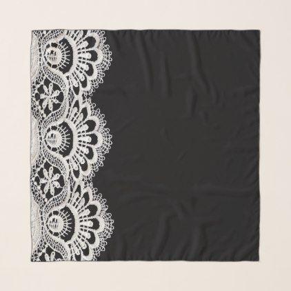 Elegant White Black Scalloped Lace Chiffon Scarf - cool gift idea unique present special diy