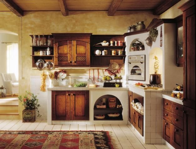 Cucina in muratura esterna stile francese di ulivo.