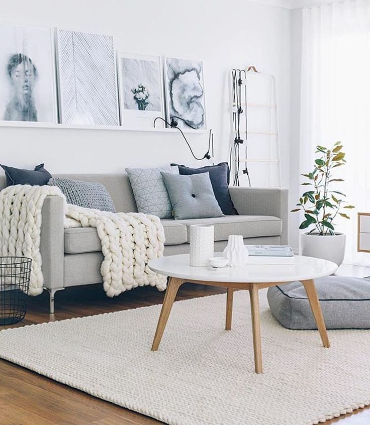 Grey and white Scandinavian style living room