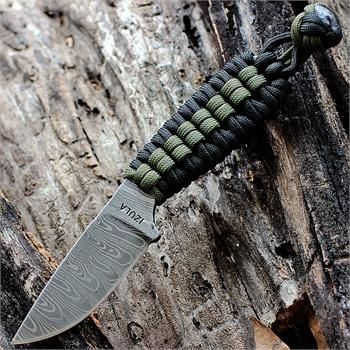 Esee Izula Damascus With Paracord Wrapped Handle Od