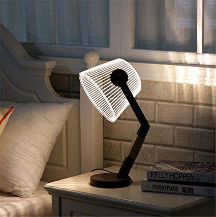 BIUODY Lámpara de cabecera Atmósfera Lámpara estudiando Lámpara de escritorio Regulador de luz Niveles de brillo Cuidado de los ojos sala de estar dormitorio 3D acrílico lámpara de mesa de madera maciza