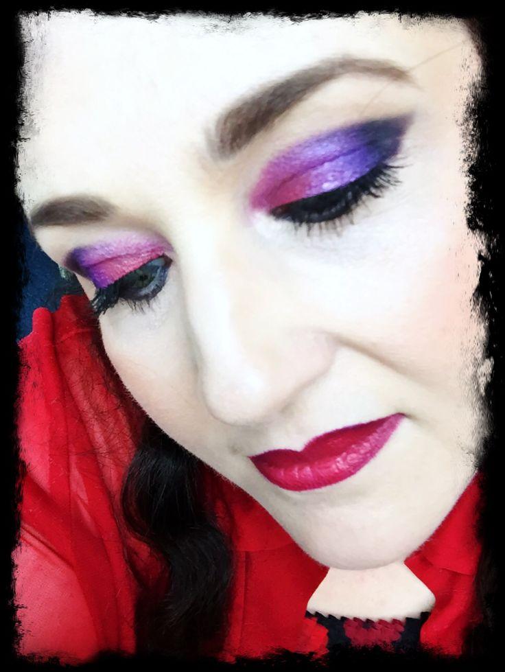 Illamasqua skin base 3.5 Viseart Palette black purple blue MUFE red shadow NARS black valley paint pot NARS duo sculpt  Milani berry blush  UD champagne highlight  MAC lipliner in Currant  MAC LE Maleficent lipstick