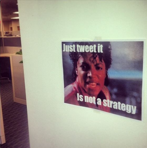 Words of wisdom hanging in the @Constance Shimek Contact social media team's corner..