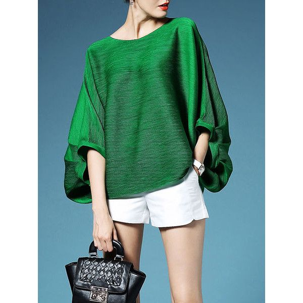 Pleated Batwing T-Shirt (115 CAD) ❤ liked on Polyvore featuring tops, t-shirts, green top, batwing t shirt, green t shirt, green tee and pleated top