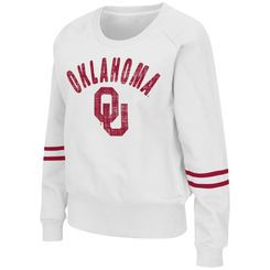 Women's Colosseum White Oklahoma Sooners Lunar Scoop Neck Fleece Sweatshirt