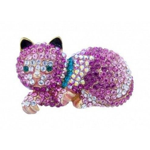 Butler & Wilson Swarovski Crystal Pink Cat Brooch