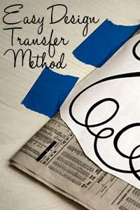 Good idea for transferring a design without creating a stencil (use newsprint)