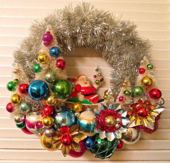 Vintage ornaments on a silver wreath