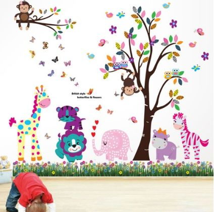 Happy Animals Combo Set ~ This lovely combo set can be attached directly to the walls, window, screens, mirrors, etc.  It is self-adhesive and water & steam resistant. And when you fancy a change, it is easily removable.  User-friendly, no special prowess required.  The overall finishing size can achieve at least 175cm Width x 150cm Height, depending on your preference to decorate your wall.  1 x Happy Animals    1 x British Colourful Butterflies Grasses  £29.99