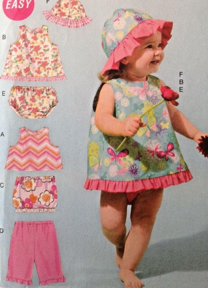 UC McCall M6539 Sewing Pattern Toddler Infant Girl Baby Sun Hat Dress Newborn-XL #McCalls
