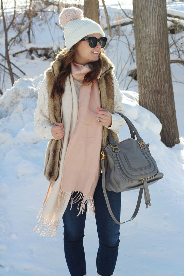 jillgg's good life (for less) | a west michigan style blog: my everyday style: baby, it's cold outside! #winteroutfit #pink #fauxfurvest #pompomhat #chloe