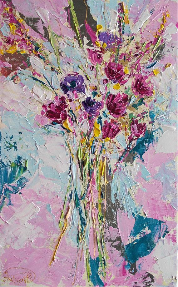 Original floral acrylic painting on canvas,palette knife floral painting,wild flowers painting,pink flowers art,purple flowers,white,pink