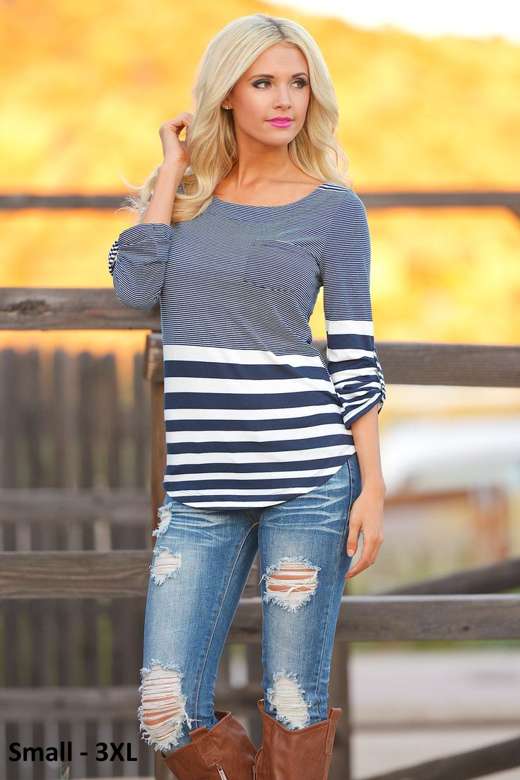 Favorite 3/4 Sleeve Top - Navy/White from Closet Candy Boutique