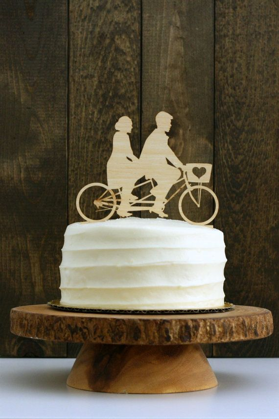 YOUR Silhouettes on a Custom Tandem Bike Wedding Cake Topper - Rustic Wedding Cake Topper- Bicycle Silhouette Cake Topper