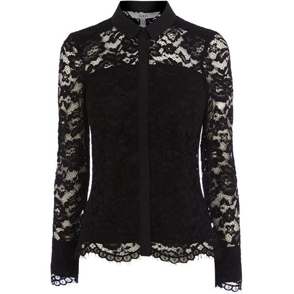 ADELIA LACE BLOUSE found on Polyvore featuring tops, blouses, shirts, sheer top, transparent shirt, lace sleeve shirt, lace shirt and sheer lace shirt