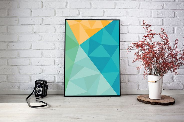 Colorful Triangles Blue de SilBarragan en Etsy