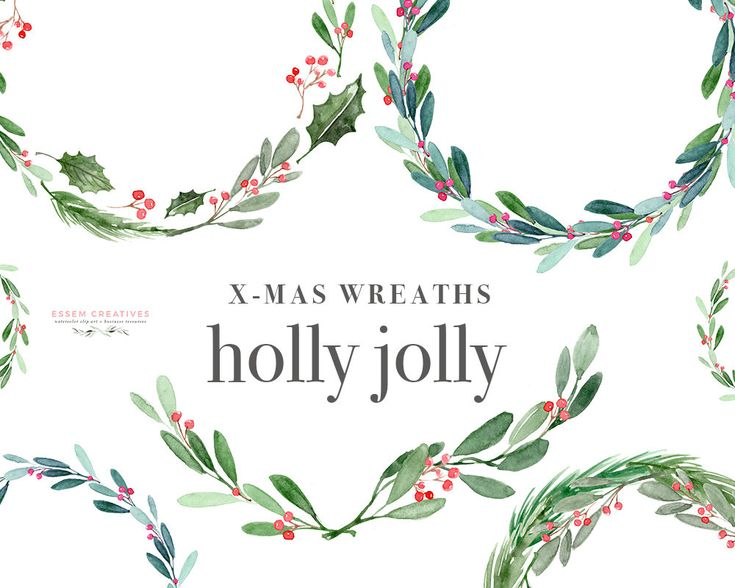 Christmas Wreath Clipart, Holly Jolly Clip Art, Watercolor Winter Clipart, Mistletoe Clipart, Holiday Card Clipart, Festive Digital Graphics, elegant, winter wedding invitations, DIY stationery This is a set of Christmas Wreath Clipart set. It includes holly jolly wreaths, mistletoe