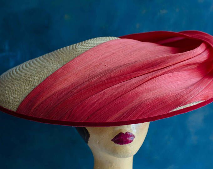Vintage style, Dior inspired large straw hat fascinator with red silk abaca swathe. Wedding hat, races hat