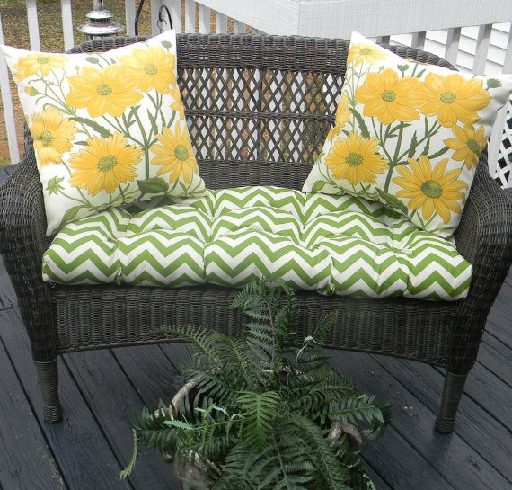 Indoor / Outdoor Cushion 3 PC Set For Wicker Love Seat   Pottery Barn  Dahlia Yellow