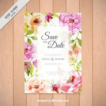 きれいな水彩花と招待状