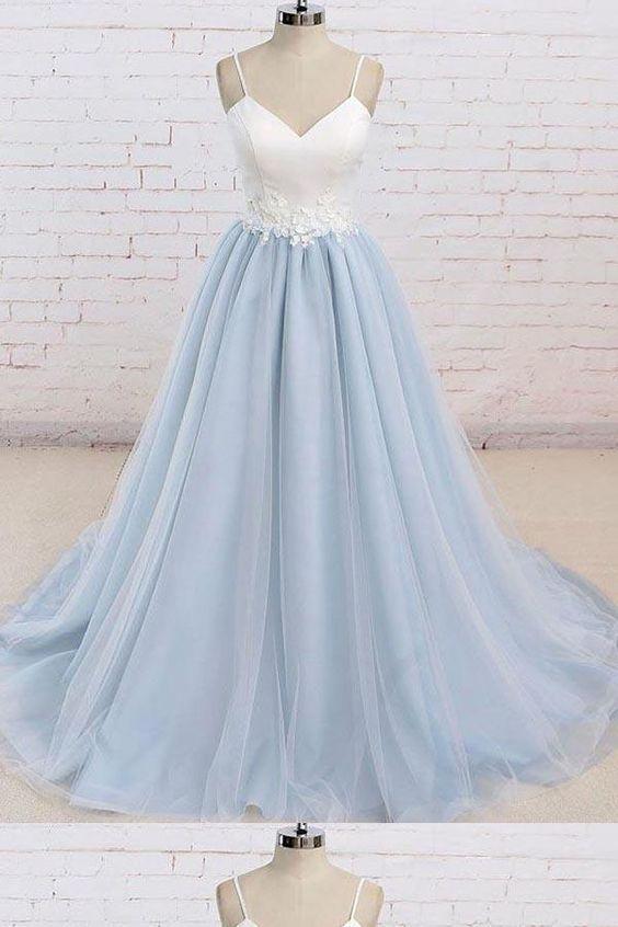 0b15d5d6da4f Simple Spaghetti Straps Light Blue A line Long Evening Prom Dresses, 17525