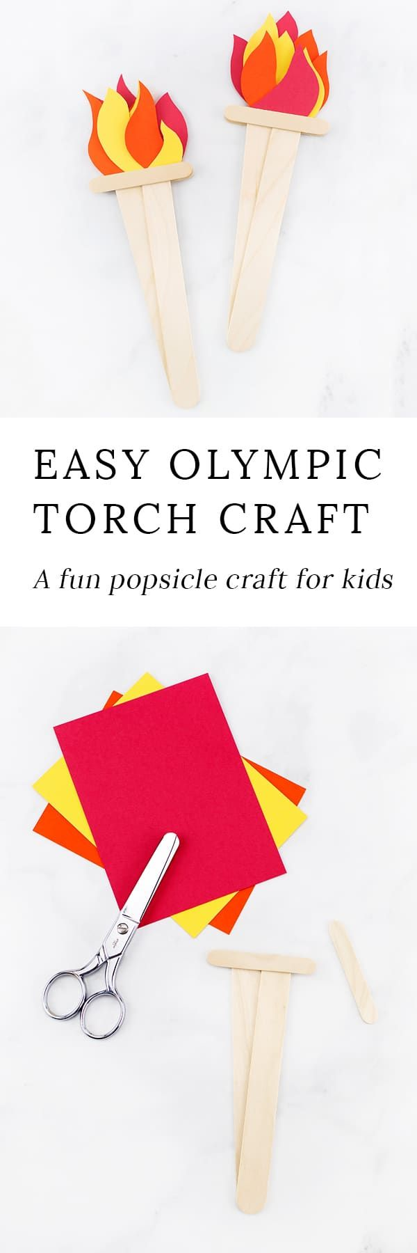 Looking for an easy Olympics craft for kids? This simple Olympic Torch Craft, created from construction paper and wooden craft sticks, is perfect for home or school. via @https://www.pinterest.com/fireflymudpie/
