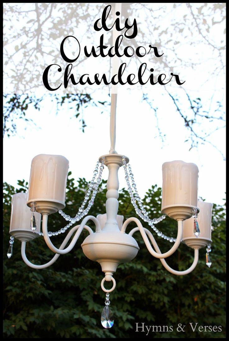 Diy ligth fixture makeover into outdoor chandelier hymns and verses - Outdoor chandelier diy ...
