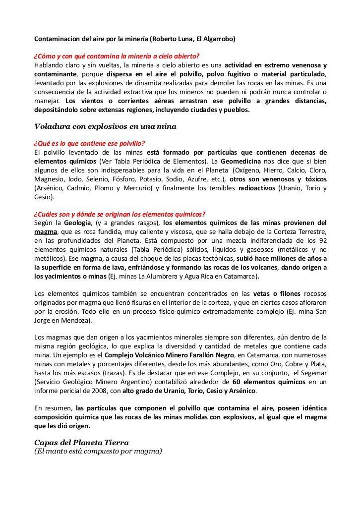 Contaminacion del aire por la minería (Roberto Luna, El Algarrobo)¿Cómo y con qué contamina la minería a cielo abierto?Hab...