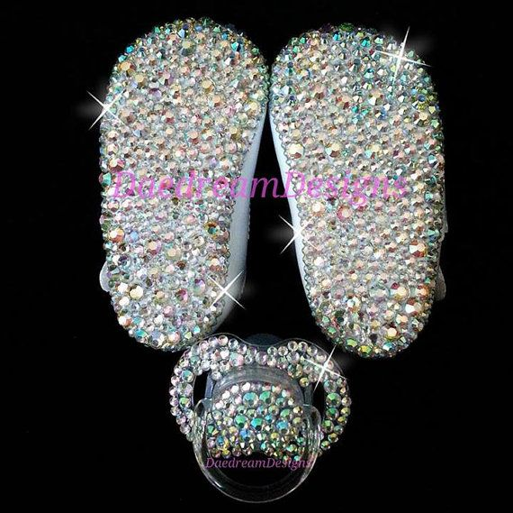 Bling Baby Shoes and Bling Pacifier by DaedreamDesigns on Etsy, $55.00