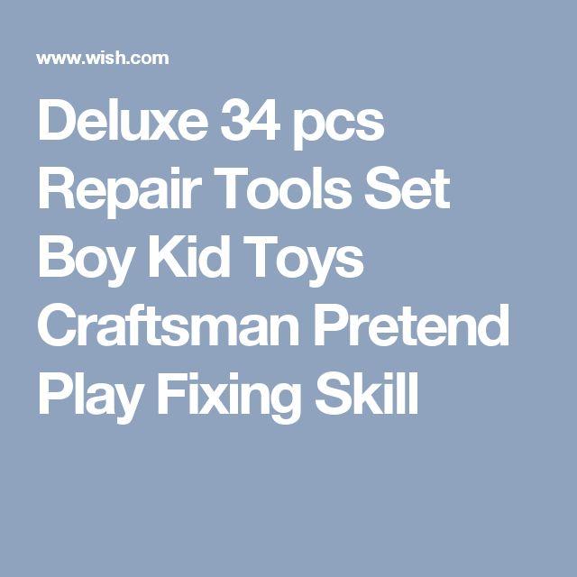 Deluxe 34 pcs Repair Tools Set Boy Kid Toys Craftsman Pretend Play Fixing Skill