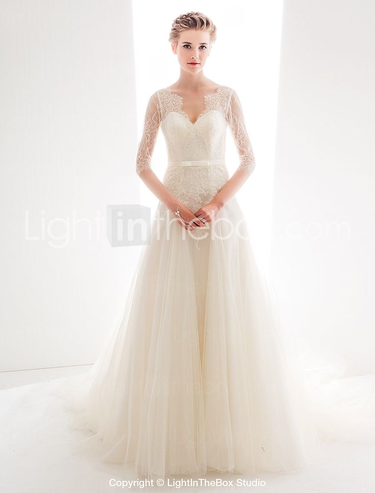Wedding Dress A Line Court Train Lace And Tulle Queen Anne Neckline Bridal Gown With Sash - USD $ 229.99