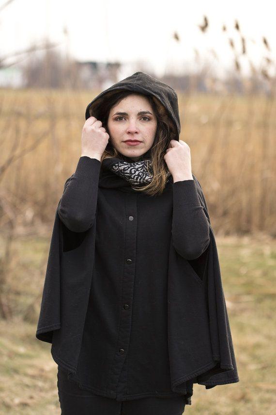 Foulard infini à capuche noire doublée en rat par creationsToutant