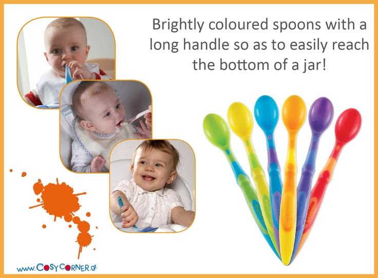Στρογγυλεμένα και με απαλές μύτες, ιδανικά για τα ευαίσθητα ούλα του μωρού σας. Μακριά λαβή ώστε να φτάνουν μέχρι τον πάτο των ψηλών δοχείων φαγητού. Εργονομικός σχεδιασμός του χερουλιού για να μπορεί να το κράτα εύκολα το μωρό σας. http://www.cosycorner.gr/el/category/ώρα-για-φαγητό/σετ-6-κουτάλια/