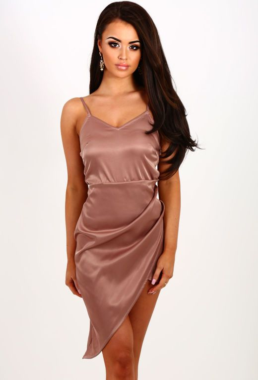 Play The Fool Nude Asymmetric Satin Midi Dress | Pink Boutique