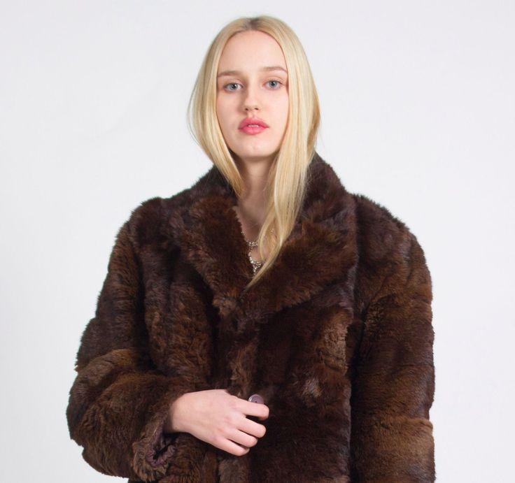 Street Style, London Look, Vintage, London VIntage, LUXURIOUS LONDON LOOK STUNNING UNIQUE VINTAGE BROWN REAL FUR COAT JACKET | eBay
