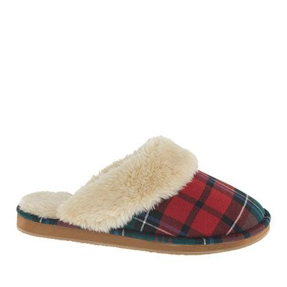 """We didn't need another reason to look forward to our morning coffee, but these warm and fuzzy slippers—lined in soft faux shearling—certainly don't hurt. <ul><li>Half sizes order up.</li><li>5/8"""" heel.</li><li>Cotton upper.</li><li>Faux-shearling lining.</li><li>Rubber sole.</li><li>Import.</li></ul>"""