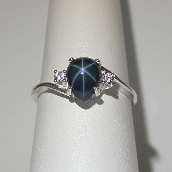 Genuine 2.3ct Blue Star Sapphire Ring with White by TSNjewelry, $87.95