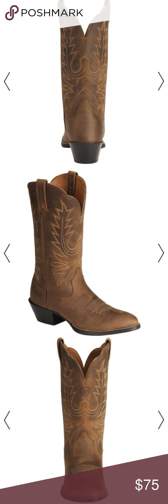 """Ariat Heritage Cowgirl Boots- medium toe Perfect for a music festival or a flowy short dress!  Ariat Heritage cowboy boot features the stabilizing ATS composite fiber forked shank for unmatched stability and comfort. The flexible, removable gel cushioned ATS footbed, metatarsal support pad, and countered heel cradle provide all-day comfort and support. Full grain leather upper with a 13"""" fancy stitched scalloped leather shaft. Walking heel and medium R toe. 3/4 welt.  Barely used. You still…"""