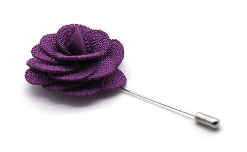The Greco lavender handmade cotton lapel flower pin captures the essence of fragile beauty and nature in an accessory you can wear daily.