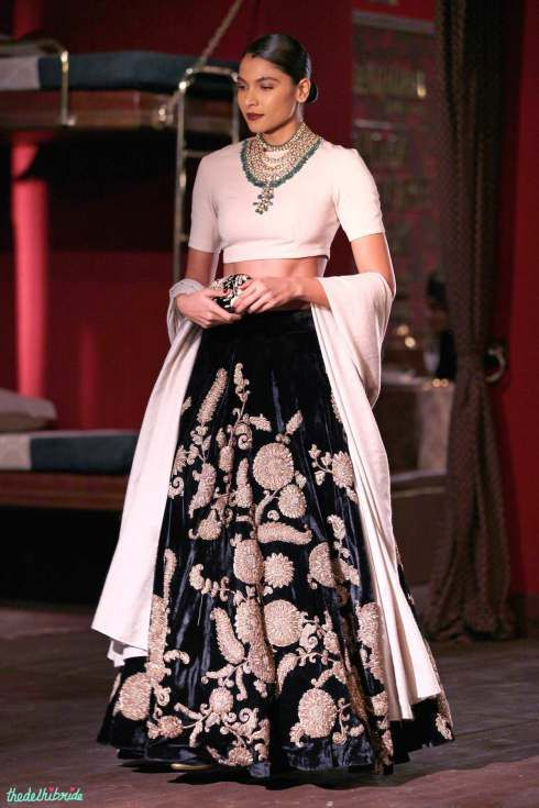 Black velvet lehenga with vintage muslim zardozi embroidery - Sabyasachi at India Couture Week 2014 #ICW2014