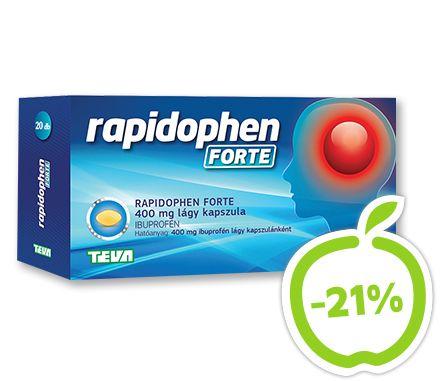 Rapidophen Forte 400 mg lágy kapszula 20x. Az ibuprofen tartalmú Rapidophen lágyzselatin kapszula eleve oldott hatóanyaga gyorsan  segít megszabadulni a fejfájástól, hogy újra önmaga lehessen. Hatóanyag: ibuprofén. Vény nélkül kapható gyógyszer: A kockázatokról és a mellékhatásokról olvassa el a betegtájékoztatót, vagy kérdezze meg kezelőorvosát, gyógyszerészét! EP kártyára kapható. Eredeti ár: 1379 Ft, Akciós ár: 1089 Ft