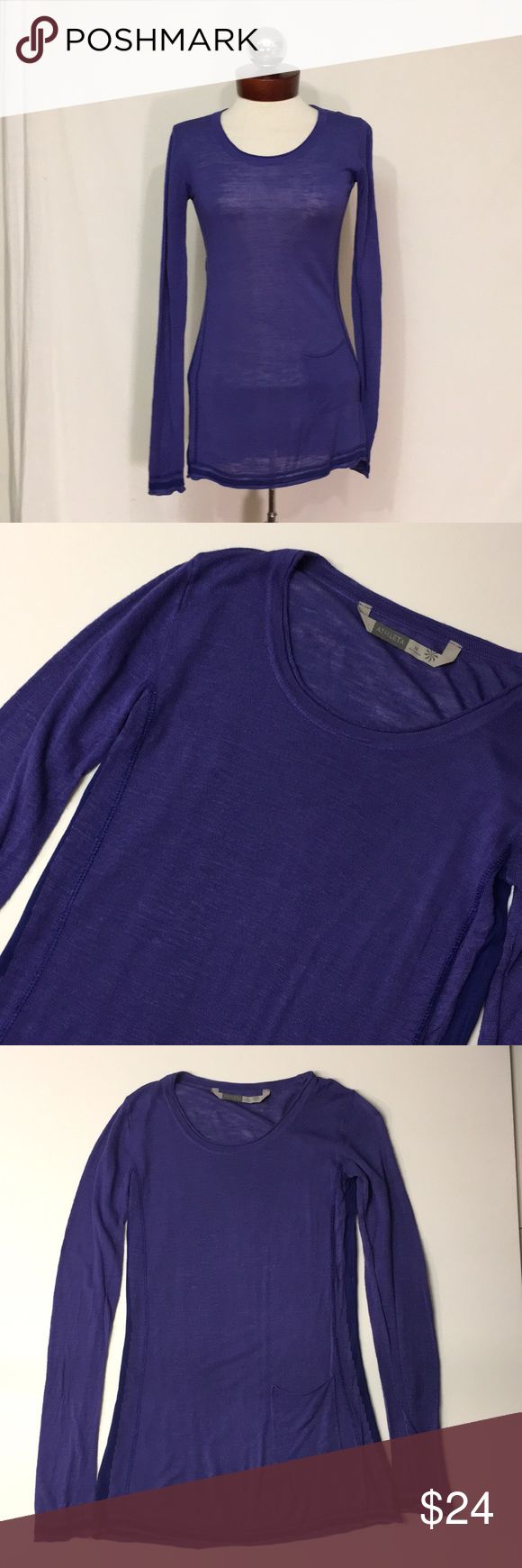ATHLETA sheer crew neck sweater Excellent condition!  Color is a lighter purple than photos suggest.  Sheer and will require appropriate undergarments. .contrast panels at side and lower sleeves.   Viscose, linen, Polymide, silk .   Pocket at hip.   bust 32 length 28 Athleta Sweaters Crew & Scoop Necks