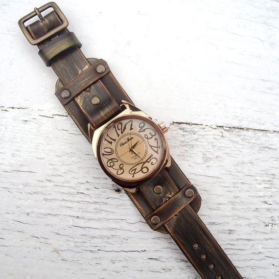 Women Leather watch, Leather cuff watch, Copper-Gold watch, Handcrafted fashion watch