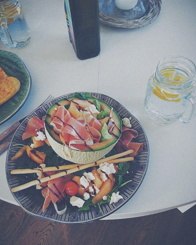 Favorite salad . Cantaloupe melon serrano ham feta cheese tomatoes avocado ruccola balsamico and grissini