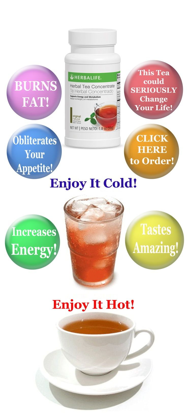 Herbalife Herbal Tea Beverage, based on GREEN TEA: Burns 80 Calories per 1/2 tsp ~ Boosts Metabolism ~ for Amazing Energy!