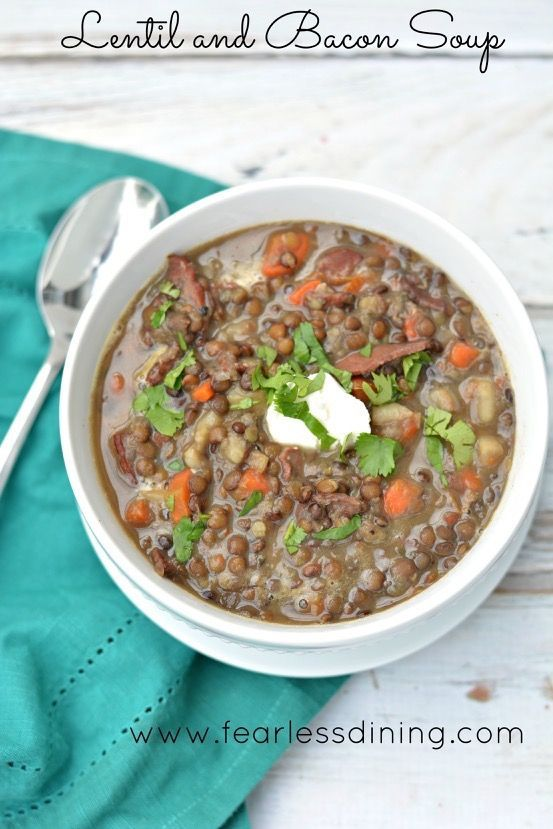 Lentil and Bacon Soup   http://www.fearlessdining.com